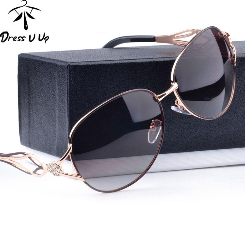 DRESSUUP Mode lunettes de Soleil Polarisées Femmes Diamant De Luxe Brand Design Lunettes de Soleil Femelle Polaroid Lentille Oculos De Sol Feminino