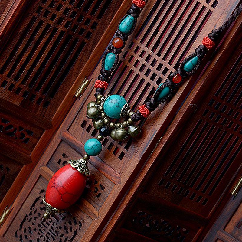 Maxi ethnique tibétain collier pour femmes rouge turquie pierre pendentif bronze cloche goutte longue corde chaîne mode vintage 2018 bijoux