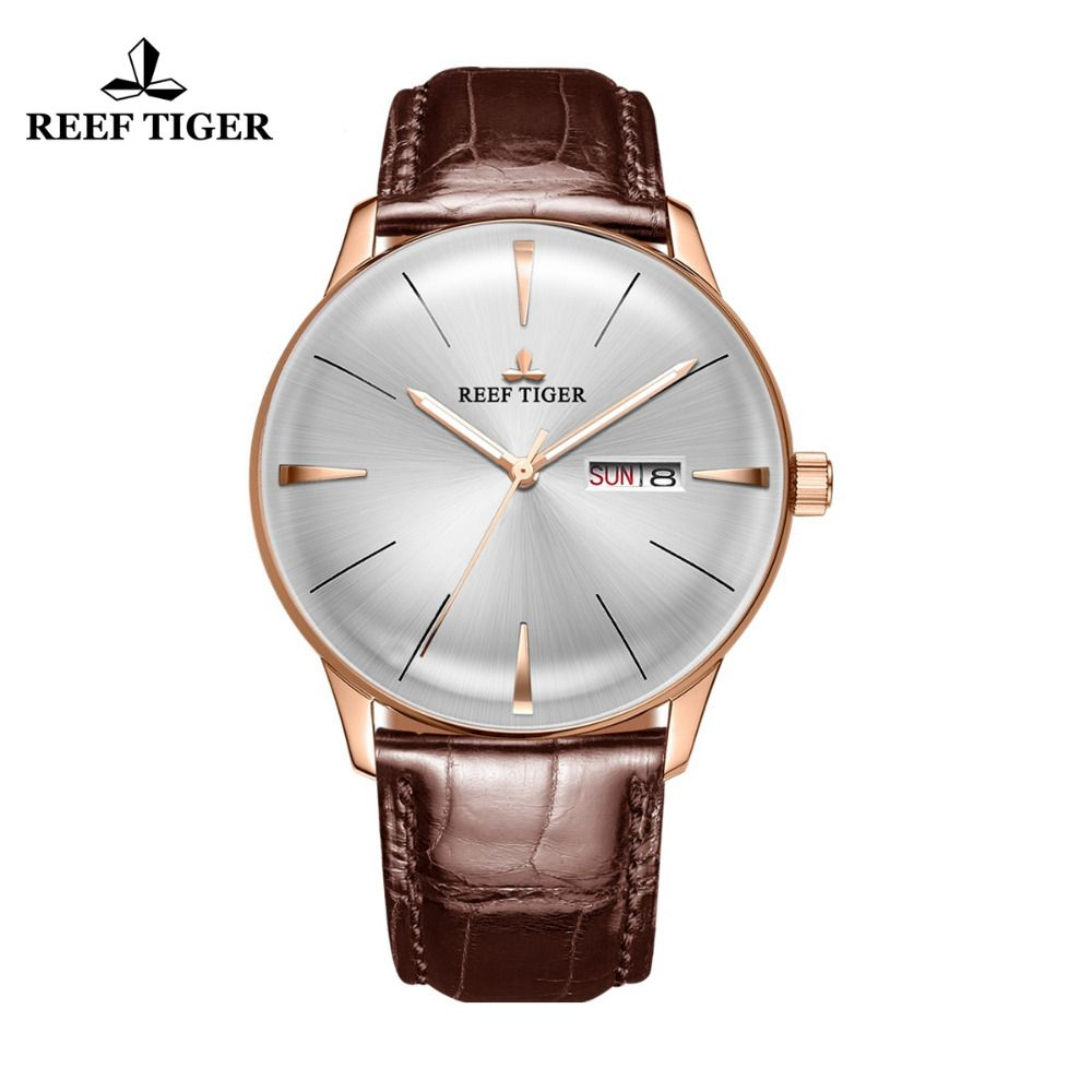 Reef Tiger/RT Simple Dress Watches for Men Rose Gold Leather Strap Automatic Watches 2018 Luxury Brand Watch reloj RGA8238
