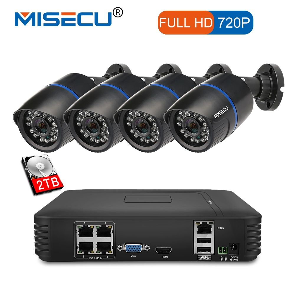 MISECU 4CH POE 1080P NVR 4pc 1.0mp 15V PoE IP Camera P2P HDMI 1080P CCTV System Surveillance IR Night vision out/indoor PC&Phone