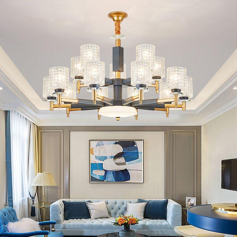 Moderne Gold Grau Metall Led Kronleuchter Beleuchtung Wohnzimmer Glas Led Anhänger Kronleuchter Lichter Hängen Lampe Leuchte Für Schlafzimmer