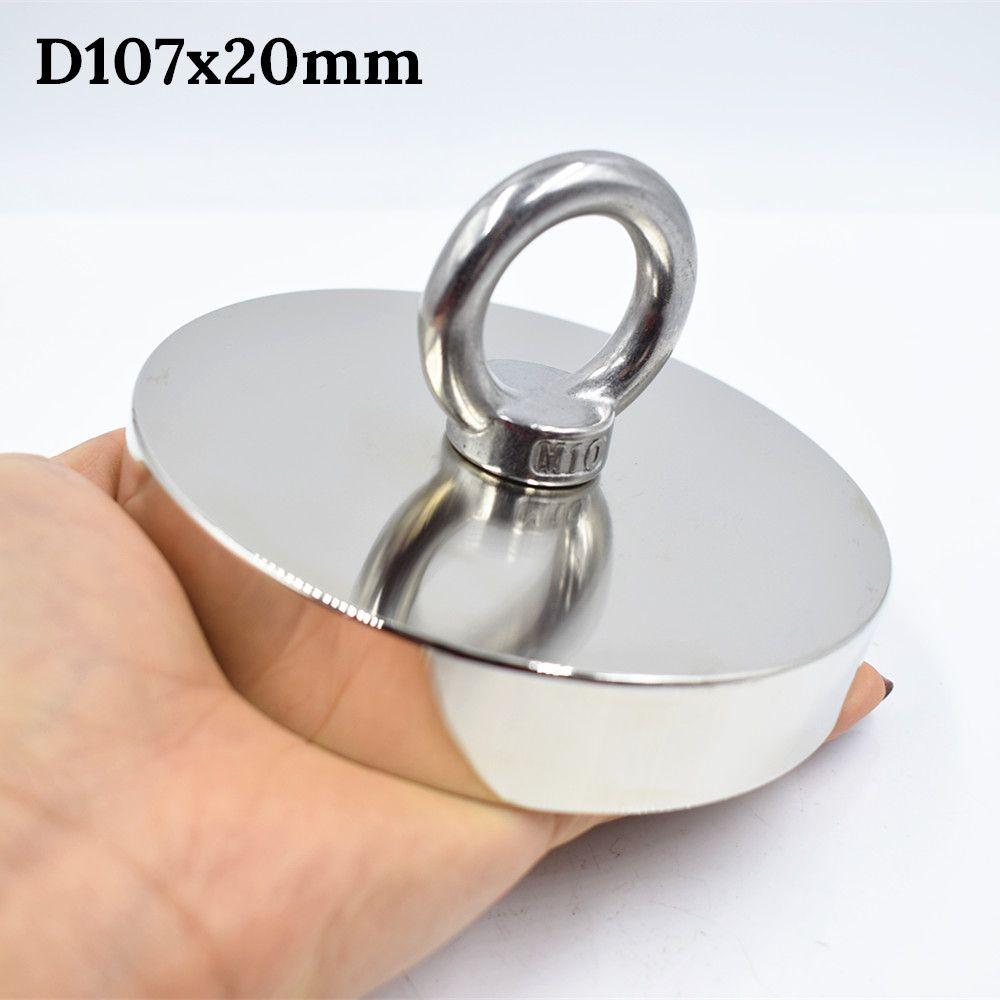 Strong Neodymium Magnet D107mm 550kg fishing salvage holder powerful hole Circular ring hook permanent deep sea Pulling Mount