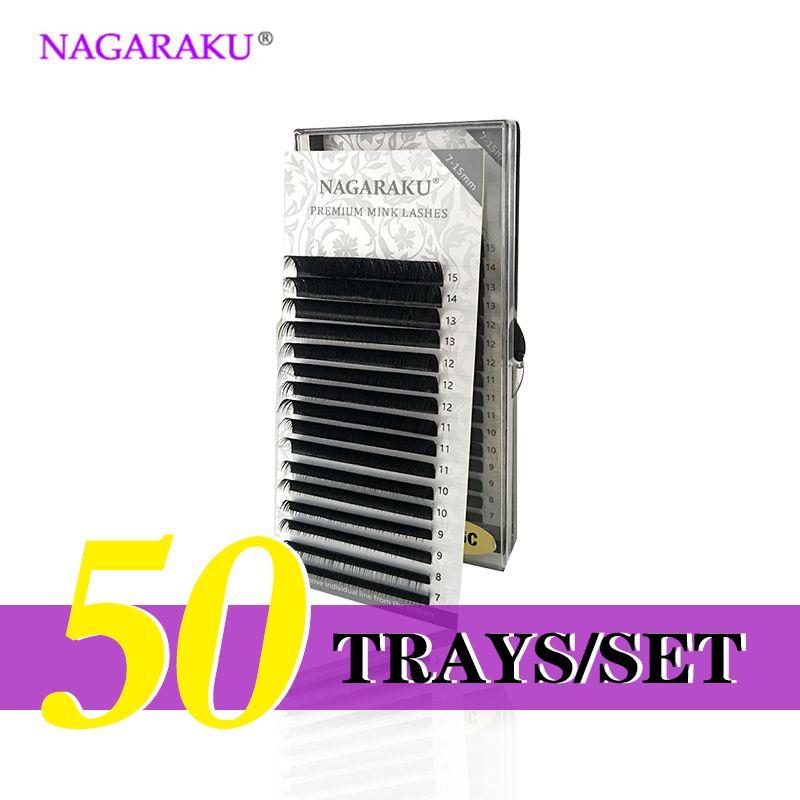 NAGARAKU  50 Trays/set  J B C D Curl  Length 7-15mm Mixed In One Tray Eyelash Extensions Individual Faux Mink Eyelash Lashes