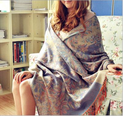 2018 Freeshipping fashion brand bohemian floral embrodiery Jacquard scarf long wide women scarves fringed scarf 65*190cm