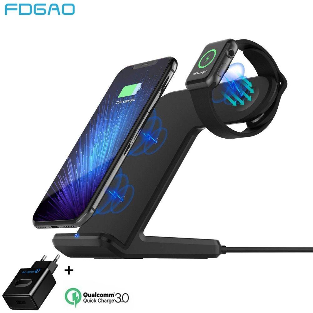 FDGAO Qi chargeur sans fil pour Apple Watch 4 3 2 iPhone 8 Plus X Xs Max XR Samsung S9 S8 QC 3.0 USB support de charge sans fil rapide