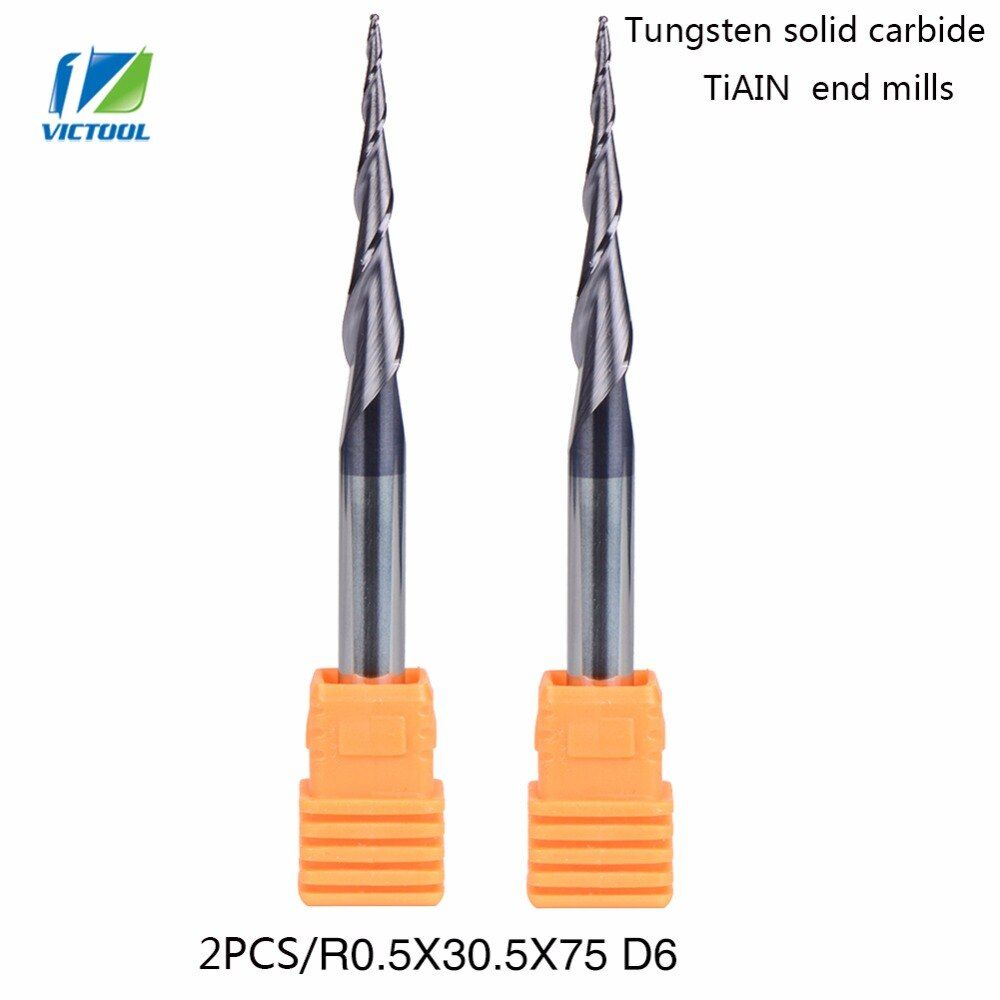 VICTOOL 2 pcs/lot R0.5 * D6 * 30.5 * 75L * 2F HV3300 solide carbure De Tungstène Revêtu Balle Nez Conique fin Moulin cône type cnc fraisage outil