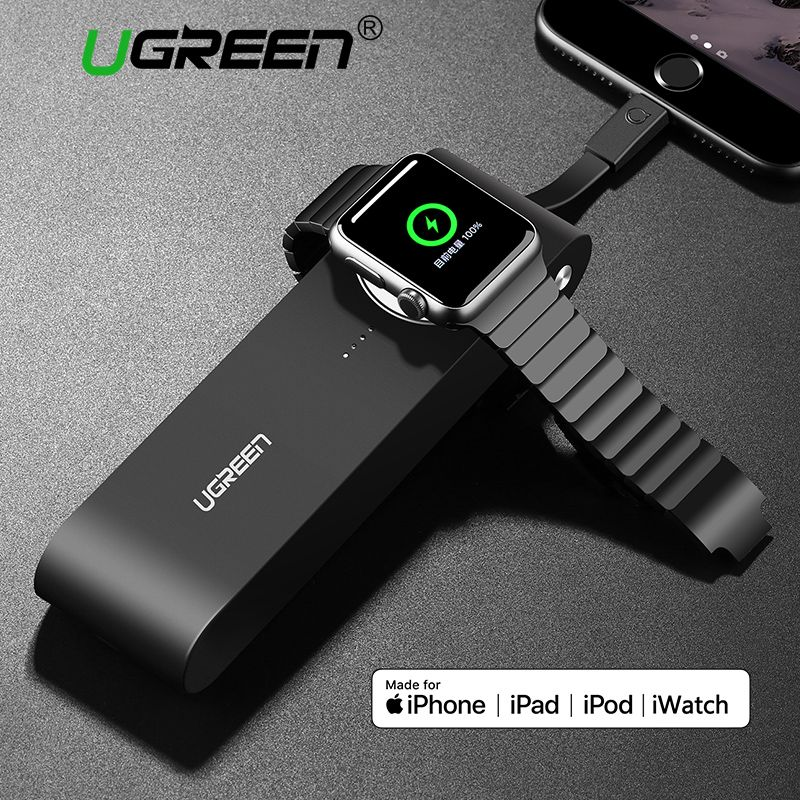 Ugreen 2200mAh/<font><b>4400mAh</b></font> Wireless Charger for Apple Watch 3/2/1 38mm & 42mm MFi Certified Portable Power Bank for iPhone X/8 /7