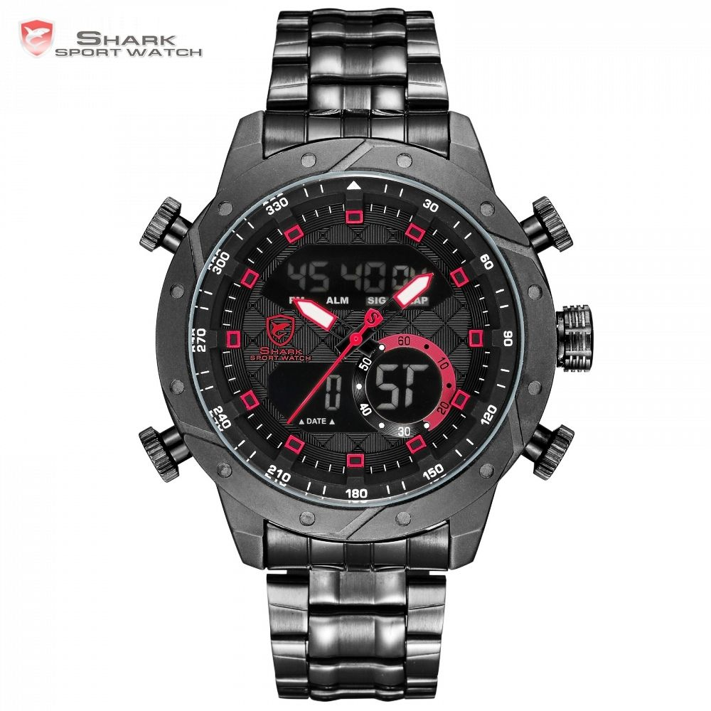 SHARK Mens Watches Top Brand Luxury Fashion Business Quartz Watch Men Sport Full Steel Watchband Waterproof Black Clock / SH592