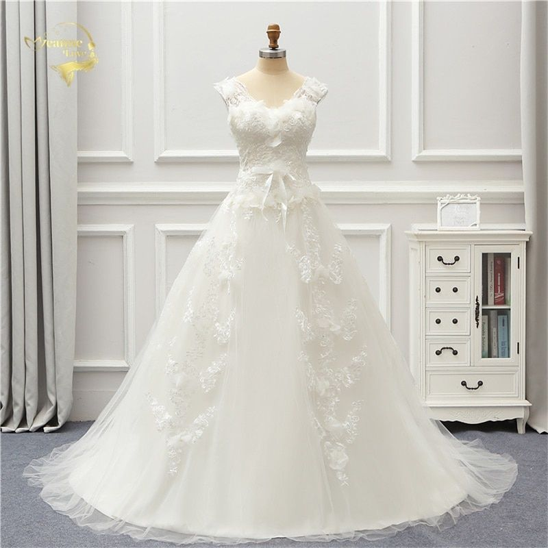 Jeanne Love Tulle Wedding Dress 2018 Lace Robe De Mariage A Line V Neck Vestido De Noiva Brida Dresses JLOV76000 Wedding Gown