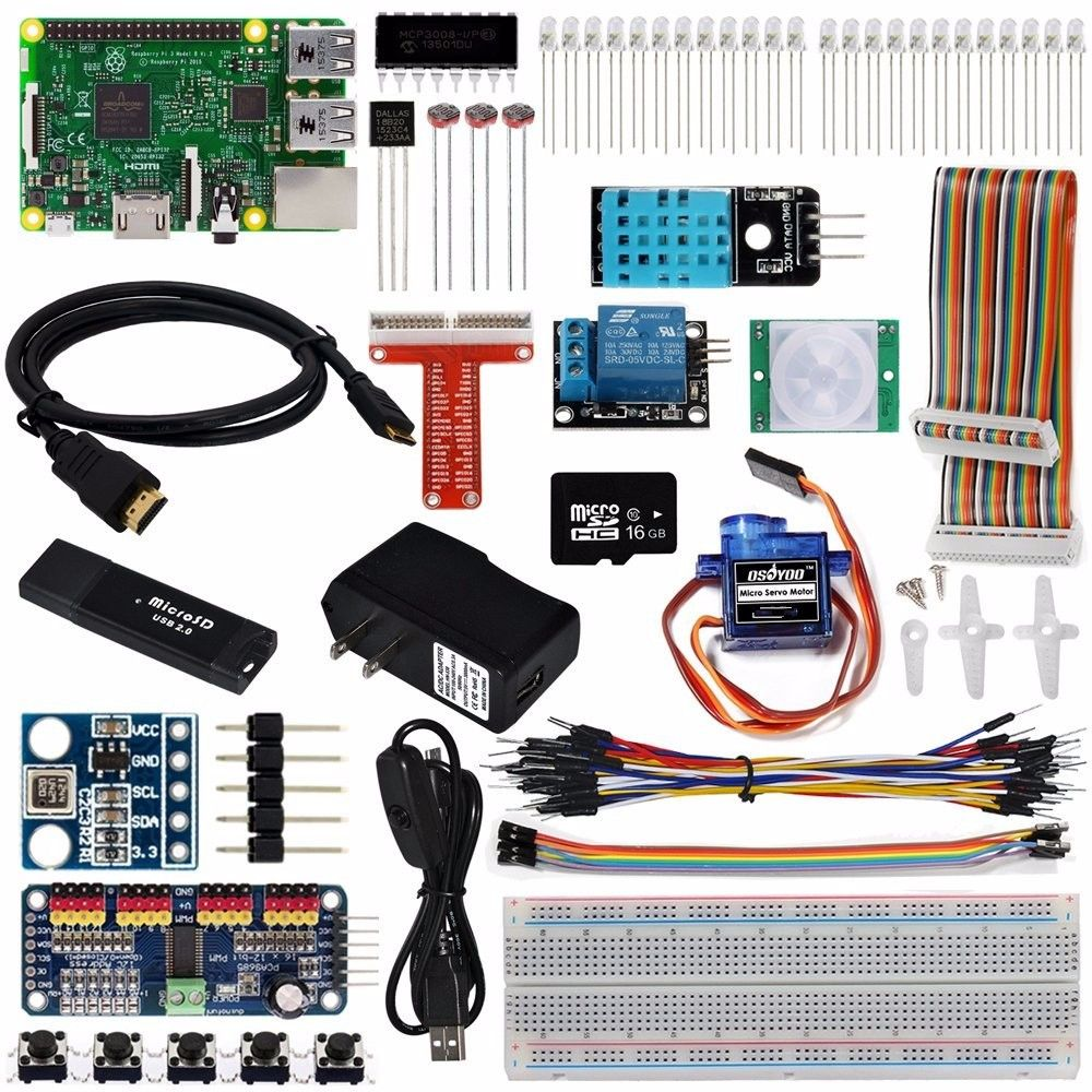 OSOYOO 2017 The Lastest Raspberry Pi 3 Internet Of Things IOT Complete Starter Kit with RPi3 Model B Board (23 items)