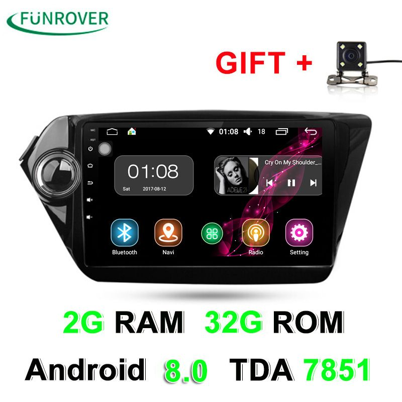 2G+32G 2 Din Car dvd gps Android 8.0 9 inch For Kia Rio K2 2012 2013 2015 2016 Car Radio Navigation player multimedia stereo RDS