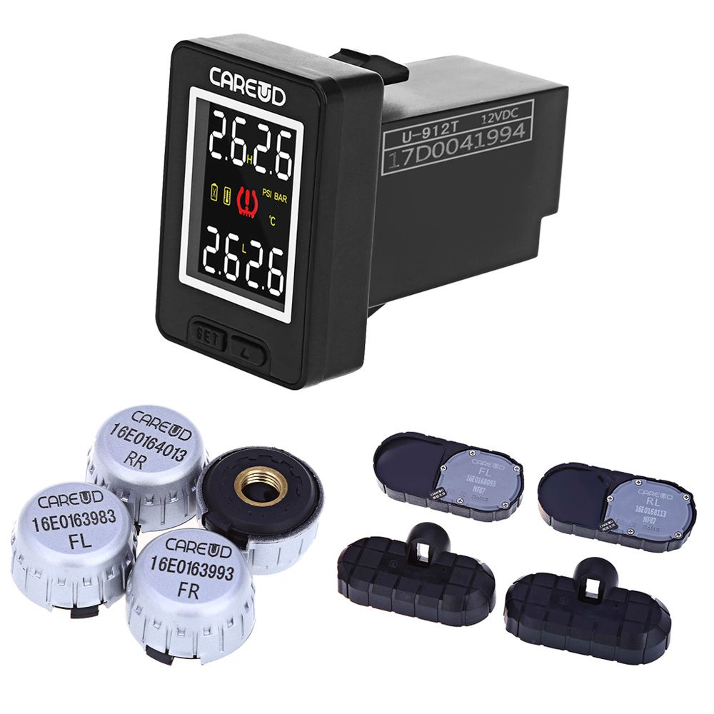 CAREUD U912 Auto Wireless TPMS Tire Pressure Monitoring System with 4 External/Internal Sensors LCD Display  For Toyota