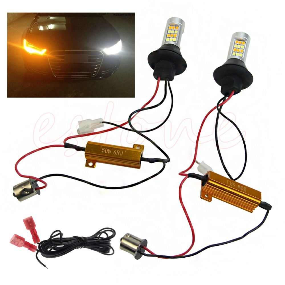 2Pcs Dual-Color BAU15S 2835 42LED 50W Switchback LED DRL Turn Signal Lamp Light Kit