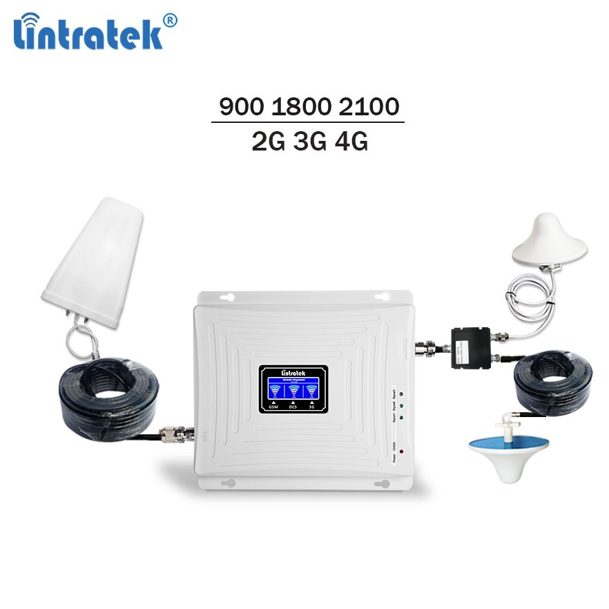 Lintratek mobile signal booster 900 1800 2100 gsm repeater 3g 4g signal booster lte umts triband cellphone amplifier full kit 72