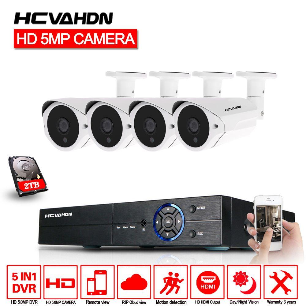 HCVAHDN 5MP CCTV Surveillance Kit 5.0MP Security Camera System 4CH DVR 5MP Video Output Kit 40m Night Vision Camera HDMI P2P