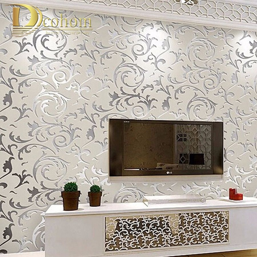 European style non-woven wallpaper classic wall paper roll purple/grey wallcovering luxury wallpaper floral papel de parede V1