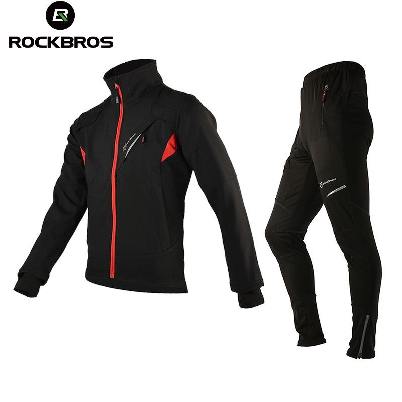 ROCKBROS Winter Fleece Cycling Sets Suits Bicycle Thermal Jacket Men's Bike Trousers ciclismo Winter Cycling Clothing Sportswear