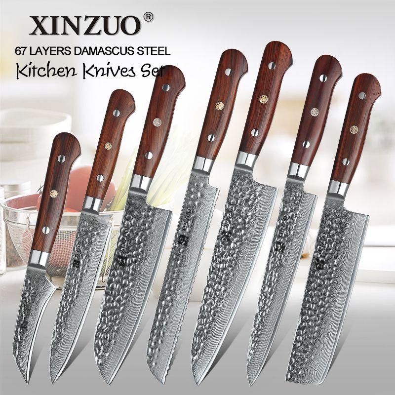 XINZUO 7 Stück VG10 Damaskus Stahl Küche Messer Set Natur Palisander Griff Hohe Carbon Klinge Utility Chef Hacken Messer