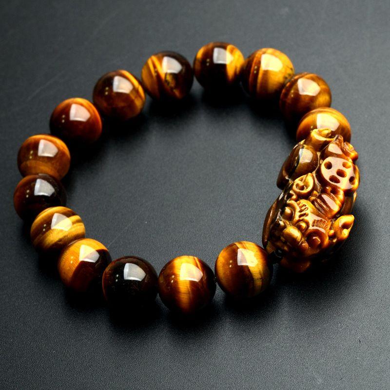 Gros JoursNeige naturel jaune œil de tigre pierre Bracelets 12mm perles rondes Pi Xiu Bracelet pour hommes femmes Bracelet bijoux