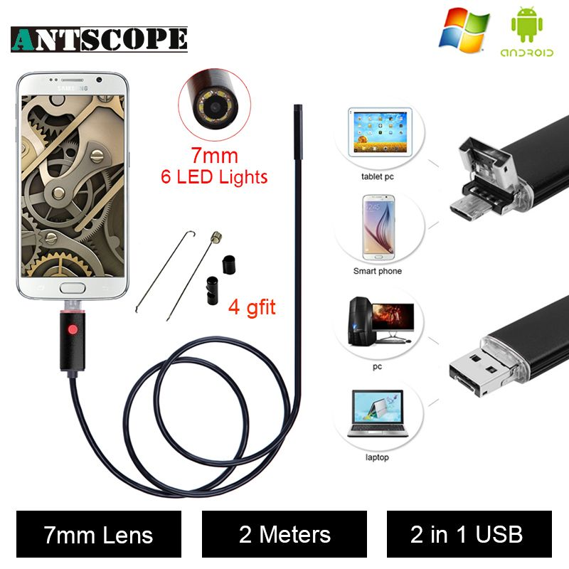 Antscope USB Android Endoscope Caméra D'inspection 2 M Android Endoscope 7 MM Objectif 6 led PC USB Endoskop Caméra 40