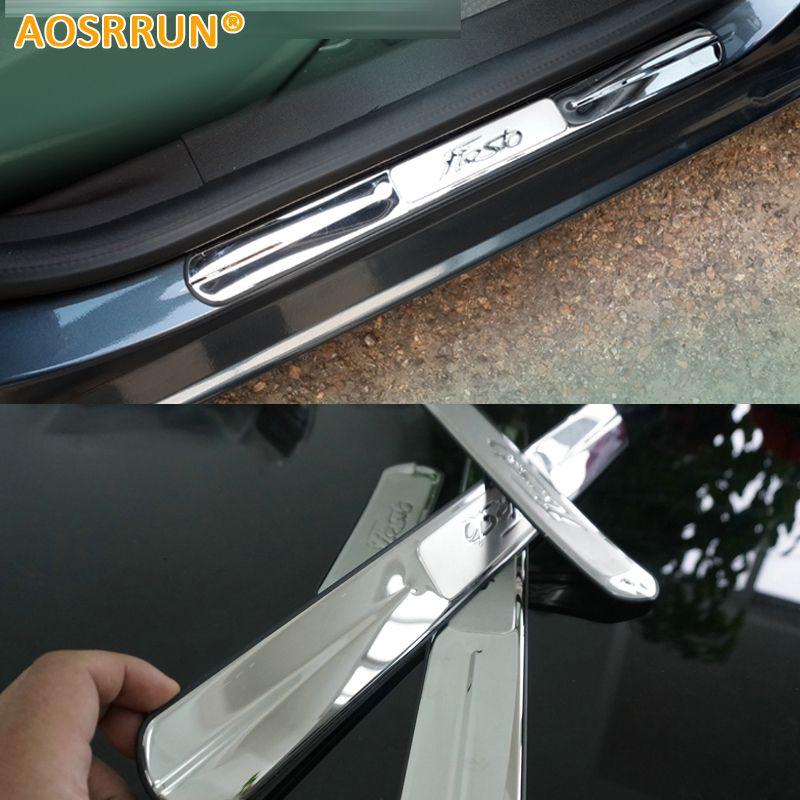 AOSRRUN Stainless Steel Door Sill Scuff Plate Trim for Ford Fiesta sedan hatchback 2010 2011 2012 2013 2014 Car-styling
