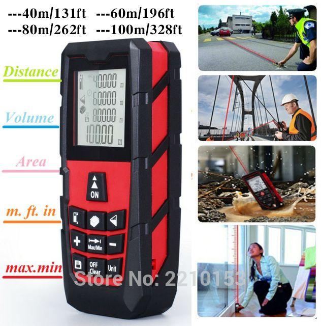 Red Laser Distance Measurer Meter Laser Rangefinder Measure Area/Volume 131ft (40m)/ 196ft (60m)/ 262ft (80m)/ 328ft (100m)