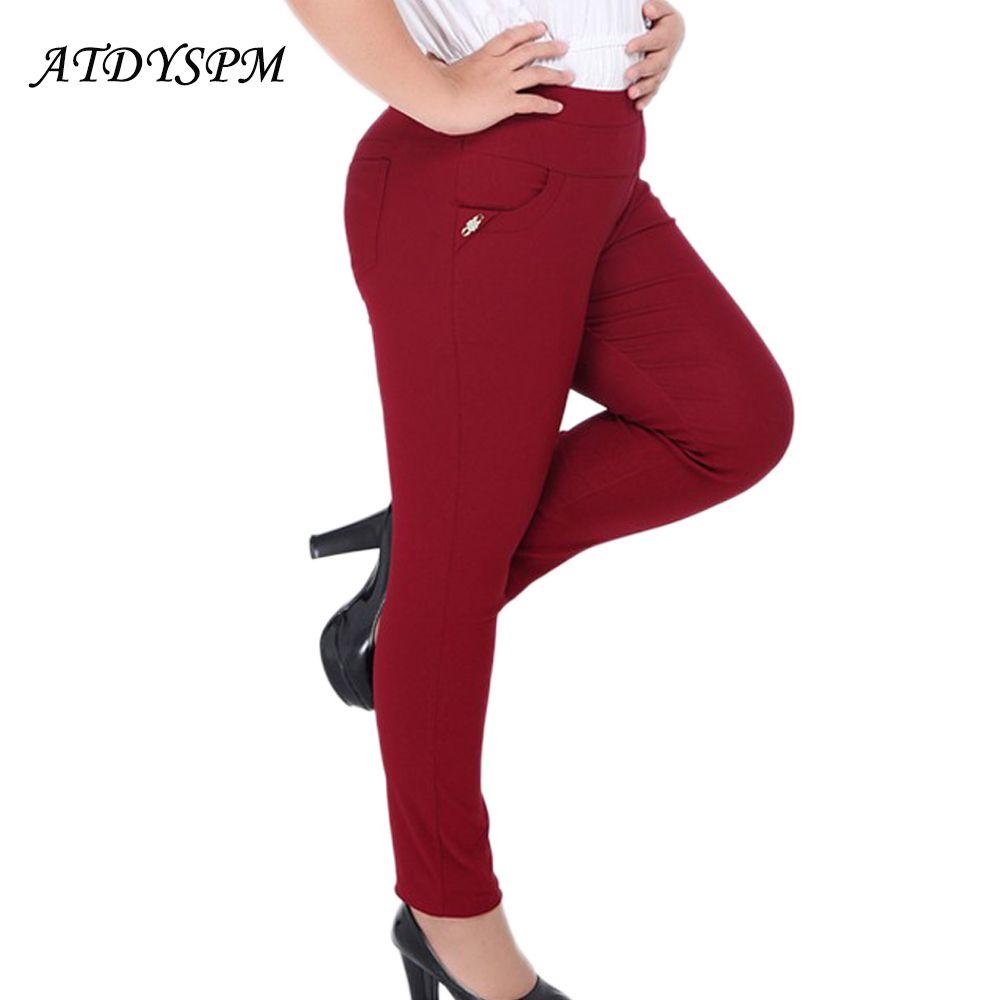 Новая мода Винтаж плюс Размеры 2XL-6XL высокие эластичные хлопковые узкие Брюки для девочек Для женщин Высокая Талия Тонкий Повседневные штан...
