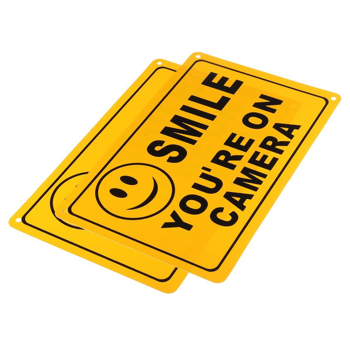 NEUE Safurance 2x LÄCHELN YOU'RE AUF KAMERA Business Warnung Sicherheit Gelb Zeichen 11 X 7/28x18 cm Sicherheit Videoüberwachung
