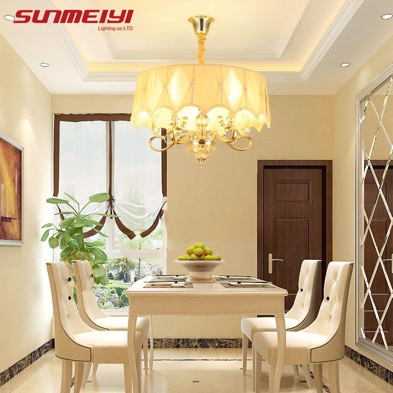 Gold LED Crystal Chandeliers lustre moderno Bedroom Living room candelabros decorativos Adjustable Chandelier Lighting