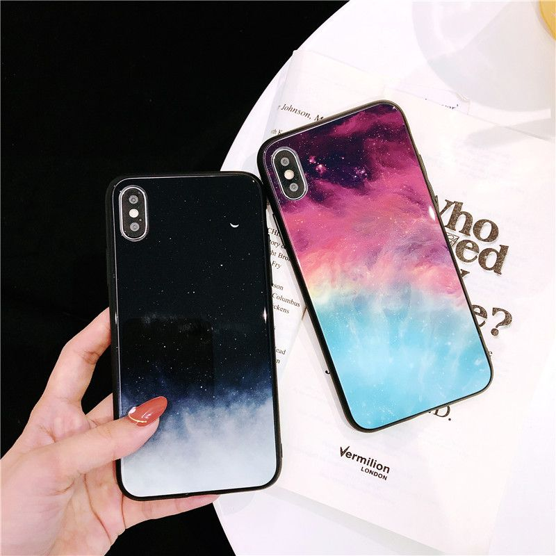 Abbery Shining Starry Sky Star Moon Luxury Phone Case for iPhone 6 6s 7 8 Plus X XR XS Max Tempered Glass Back Cover Funda Coque