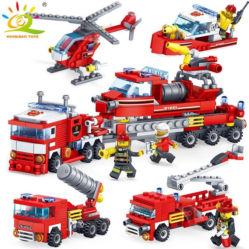 348 pcs Lutte Contre L'incendie 4in1 Camions Voiture Hélicoptère Bateau Blocs de Construction Compatible legoing ville Pompier chiffres enfants Jouets