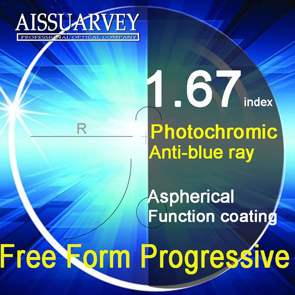 1.67 Index Free Form Progressive Lenses Anti-blue Ray Photochromic Multifocal Aspherical Bifocal Reading Top Quality Clear Gray
