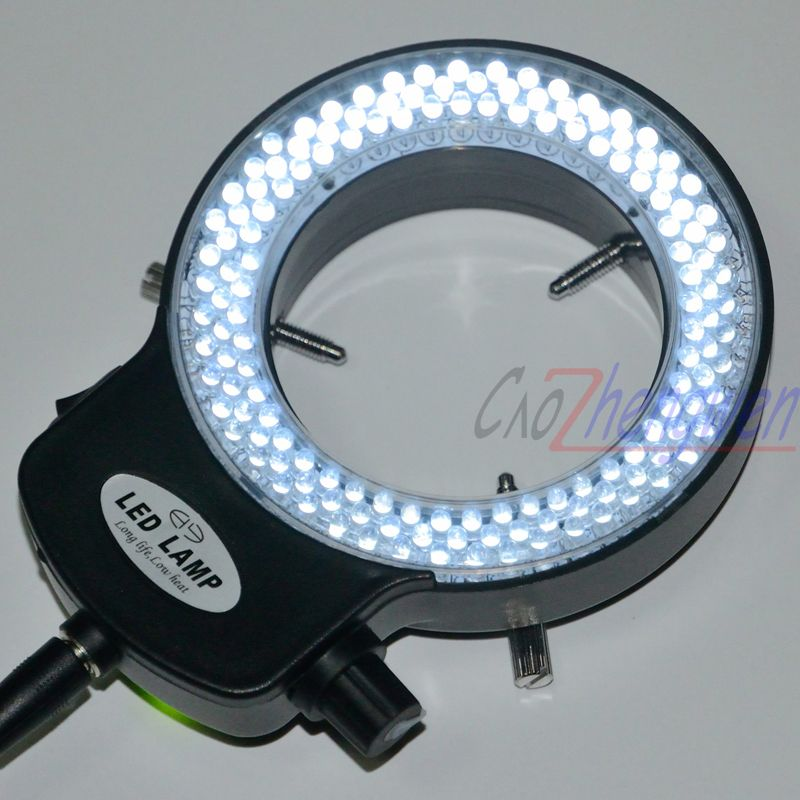 FYSCOPE Adjustable 144 LED Ring Light illuminator <font><b>Lamp</b></font> For Industry Stereo Microscope with 110V-240V AC Power Magnifier Adapter