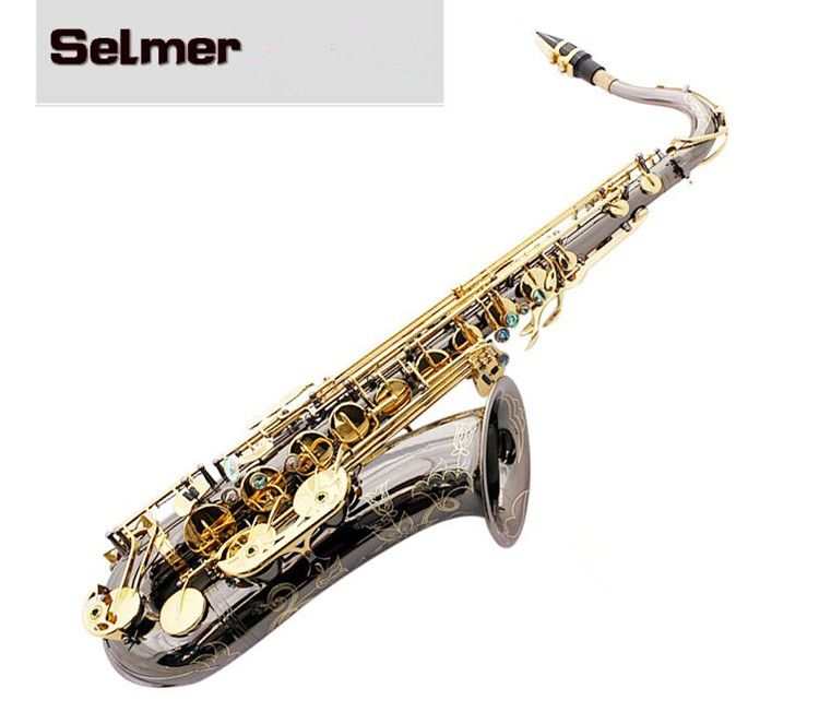 Saxophones tenor New Black Nickel Sax Gold Key STS-802 flat B high quality tenor Sax Professional Musical Instruments with case