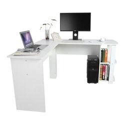 Forma de l esquina Escritorio de oficina del ordenador con el libro Estantes hogar estudio MESA portátil esquina escritorio de la computadora de oficina l- forma Mesa portátil
