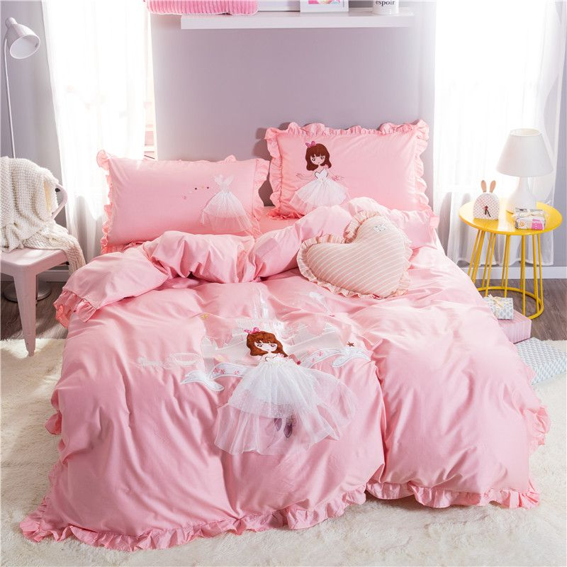 Pink Cartoon Princess Castle Embroidery Long-staple cotton Bedding Set Duvet Cover Bed Linen Bed sheet Pillowcase Gift For Child