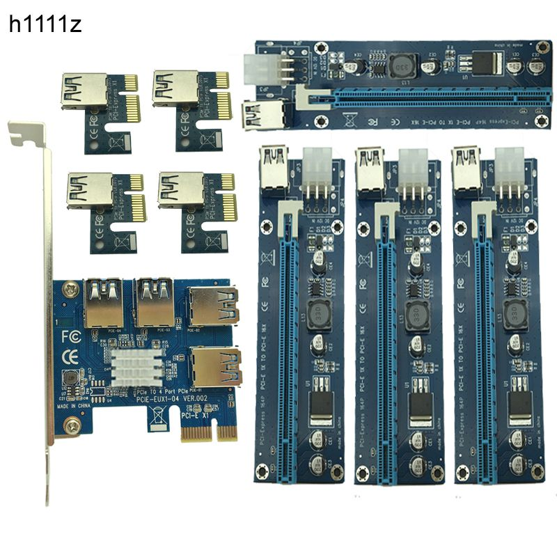 NEW Mining Card PCIe 1 to 4 PCI Express 16X Slots Riser Card PCI-E 1X to 16x External PCI-e Slot Adapter Port Multiplier for BTC
