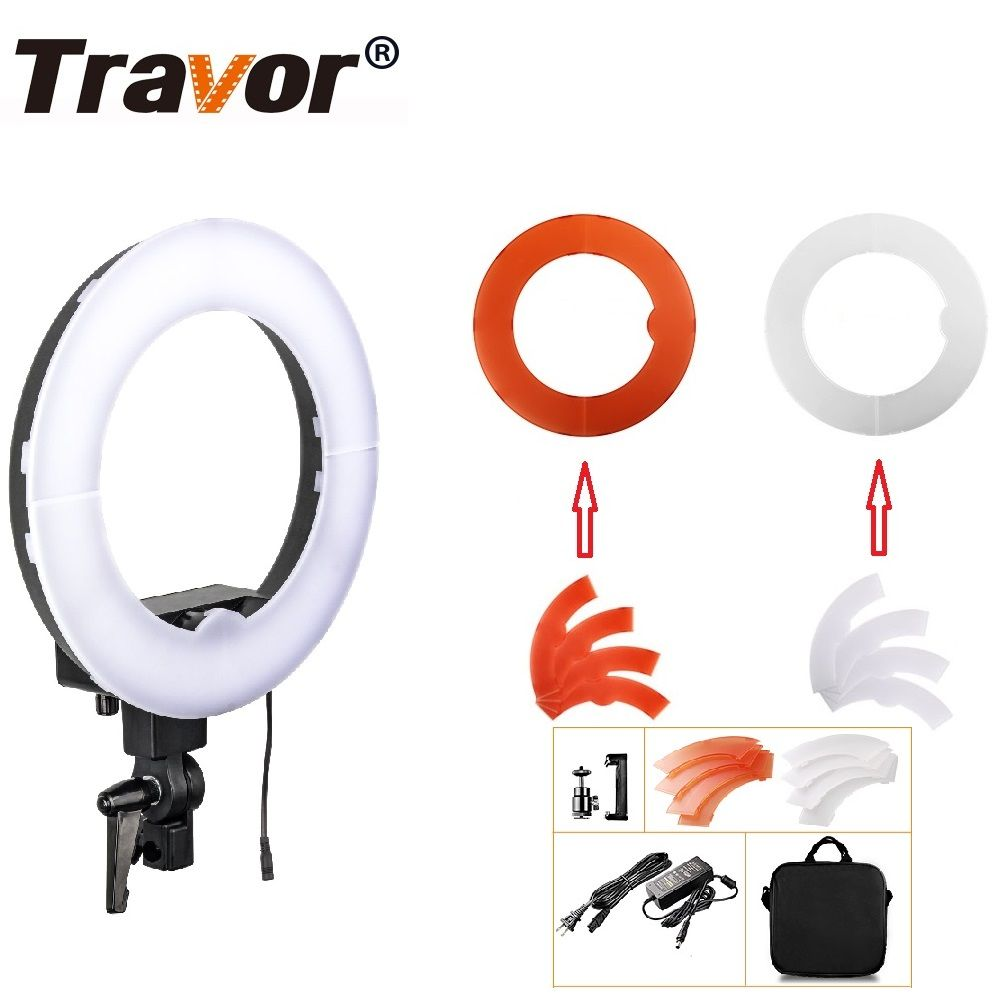 Travor LED Ring Light 12-inch Dimmable Bi-color 3200K-5500K Annular Lamp For Studio photography Lighting Studio Camera Photo