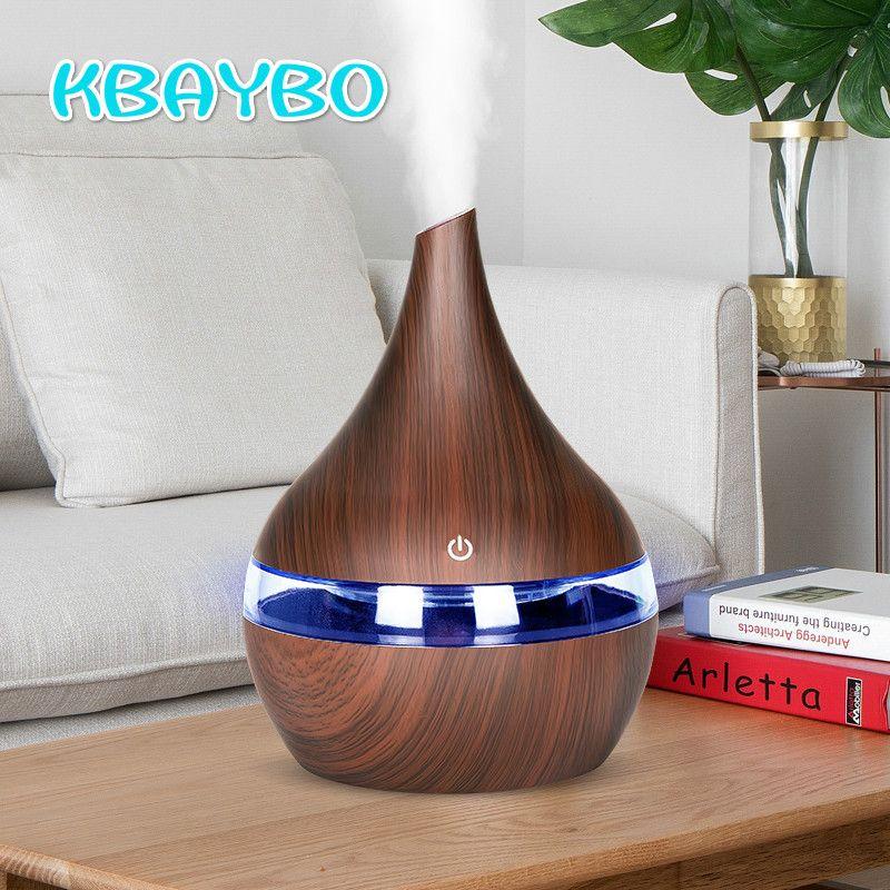 KBAYBO 300ml USB diffuseur d'air électrique arôme bois humidificateur d'air à ultrasons huile essentielle aromathérapie fabricant de brume fraîche pour la maison