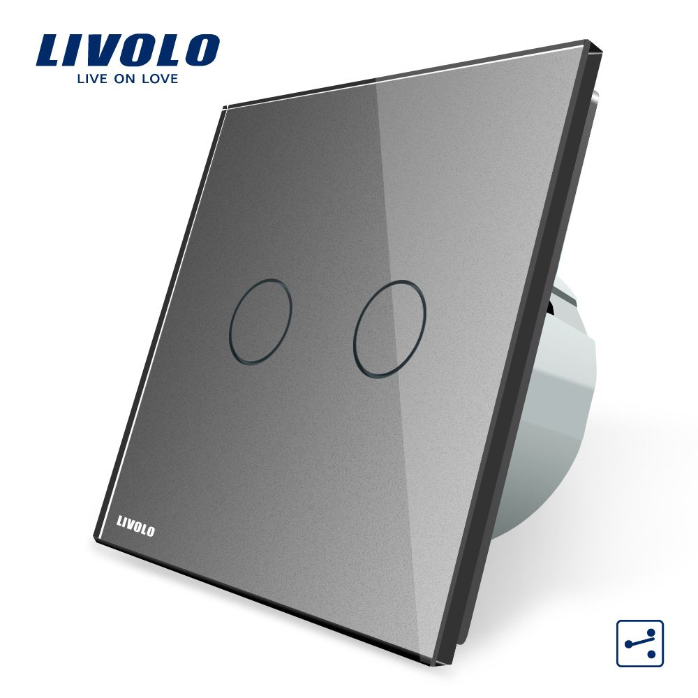 Manufacturer, Livolo EU Standard Touch Switch, 2 Gang 2 Way Control, Wall Light Switch,AC 220~250V,  VL-C702S-15 In Grey Color