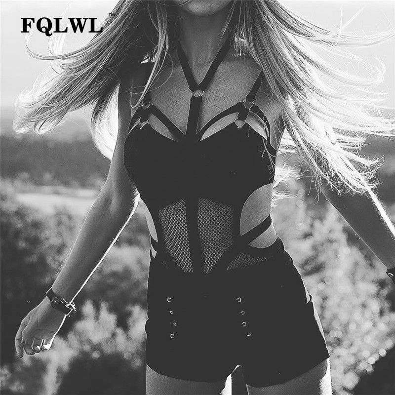 FQLWL Transparent moulante maille body Sexy licou cou noir Top Femme dos nu Bandage barboteuses femmes combinaison d'été
