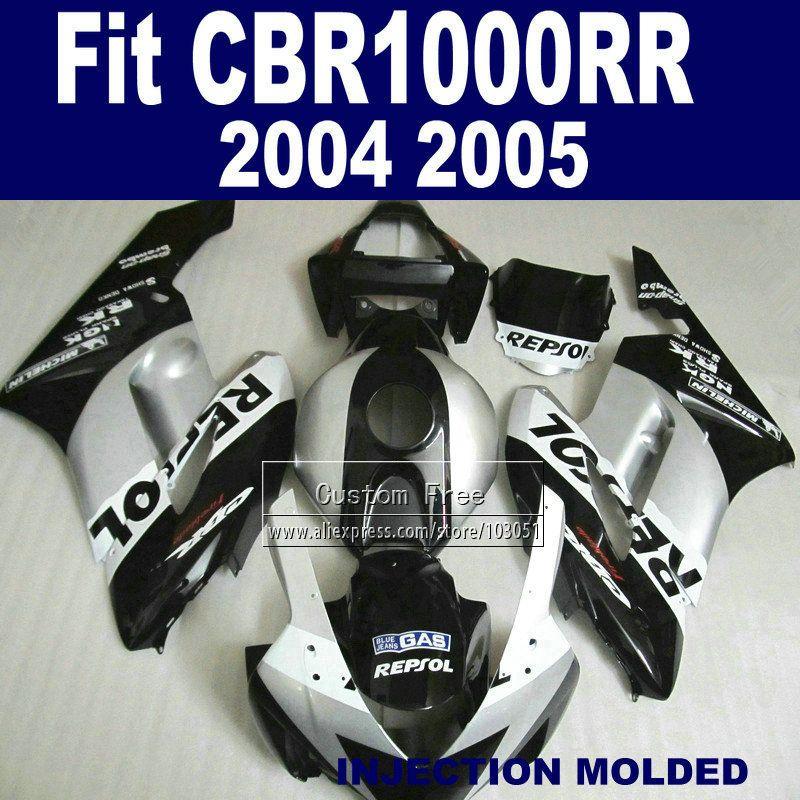 Custom Road Injection fairing kits for Honda 2004 2005 CBR1000RR CBR 1000 RR 04 05 CBR 1000RR silver repsol fairings body parts