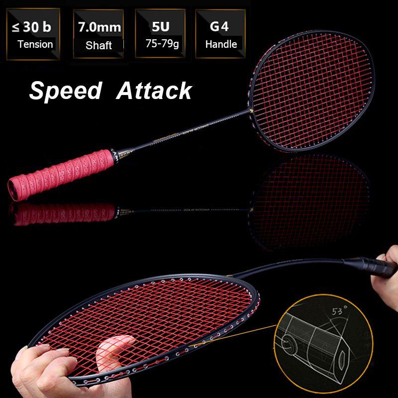LOKI 75g Geschwindigkeit Angriff Carbon Badminton Schläger Hohe Spannungen Leistungsstarke Zerschlagen Badminton Schläger 22-30 £ mit Tragen tasche