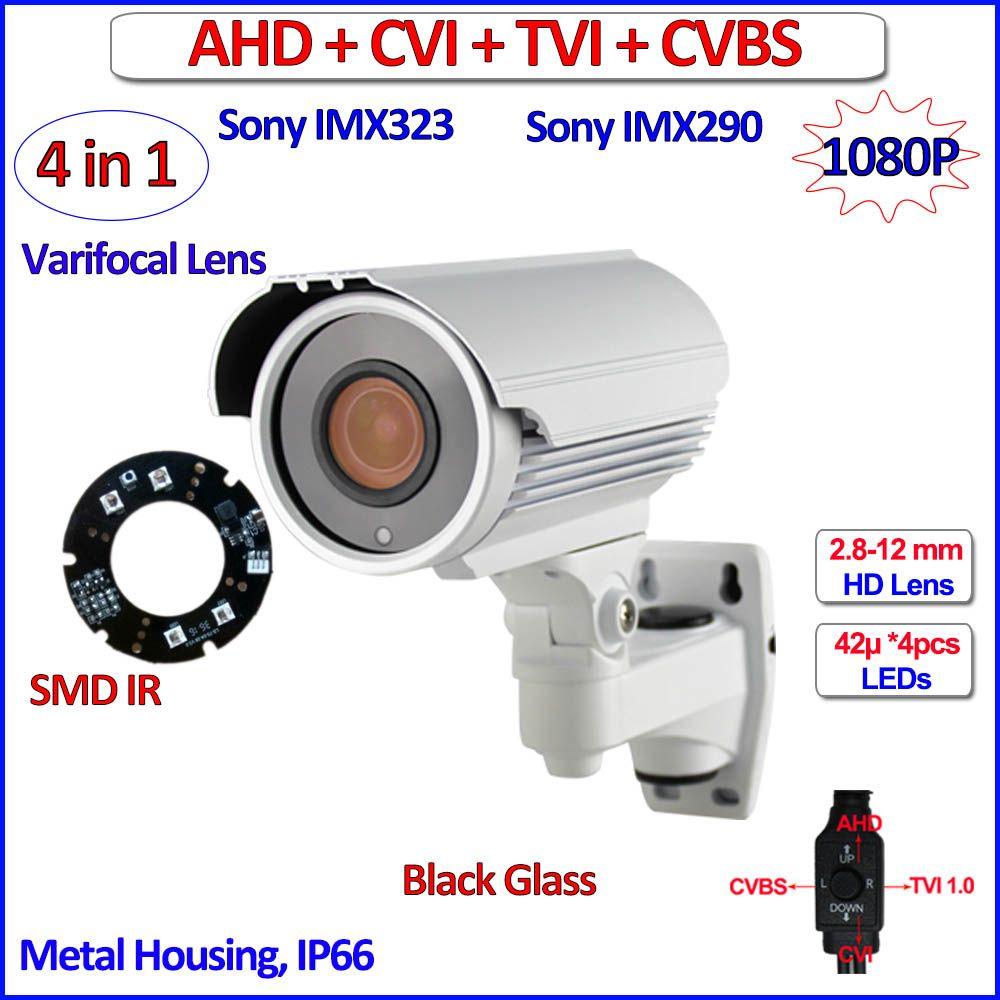 1080P 4 in 1 AHD-H CVI TVI surveillance outdoor camera Starvis imx290 imx323 ahd camera 2MP, SMD LEDs, bracket, Varifocal Lens