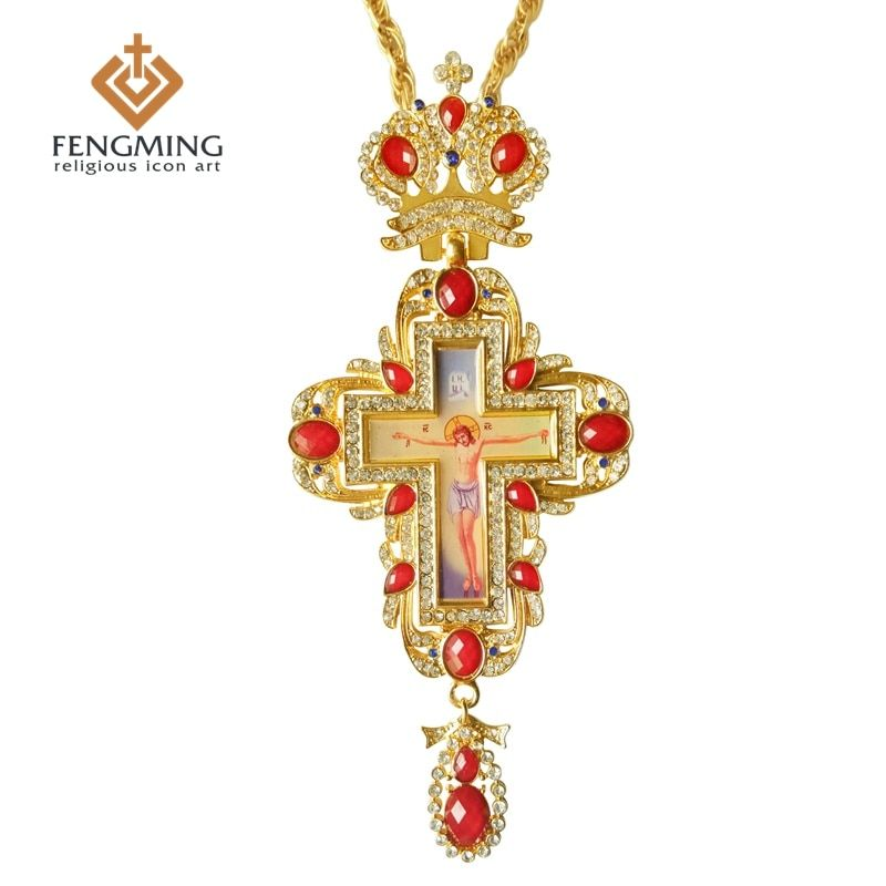 Orthodox greek cross Jesus crucifix pendants plated gold rhinestones high quality chain religious Jewelry pastor craft supplies