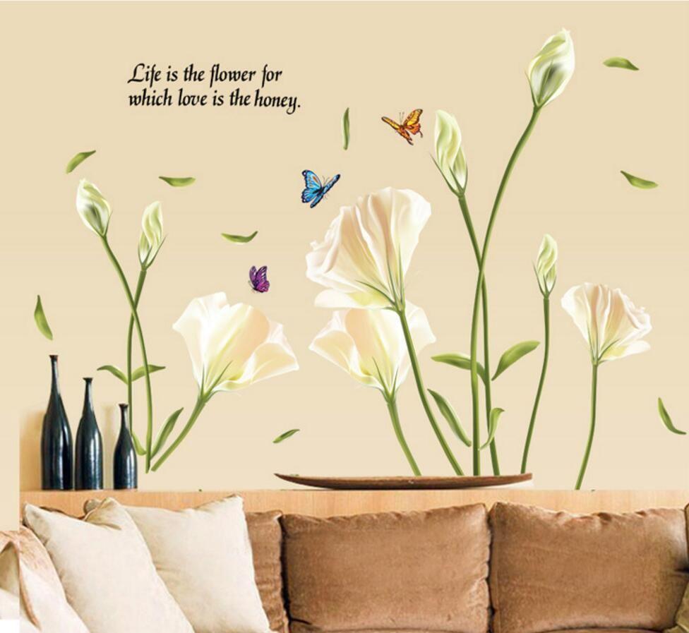 Lily Fleurs Sticker Mural Sur Le Mur Vinyle Stickers Muraux Gome Décor Chambre Toile de Fond Stickers Muraux