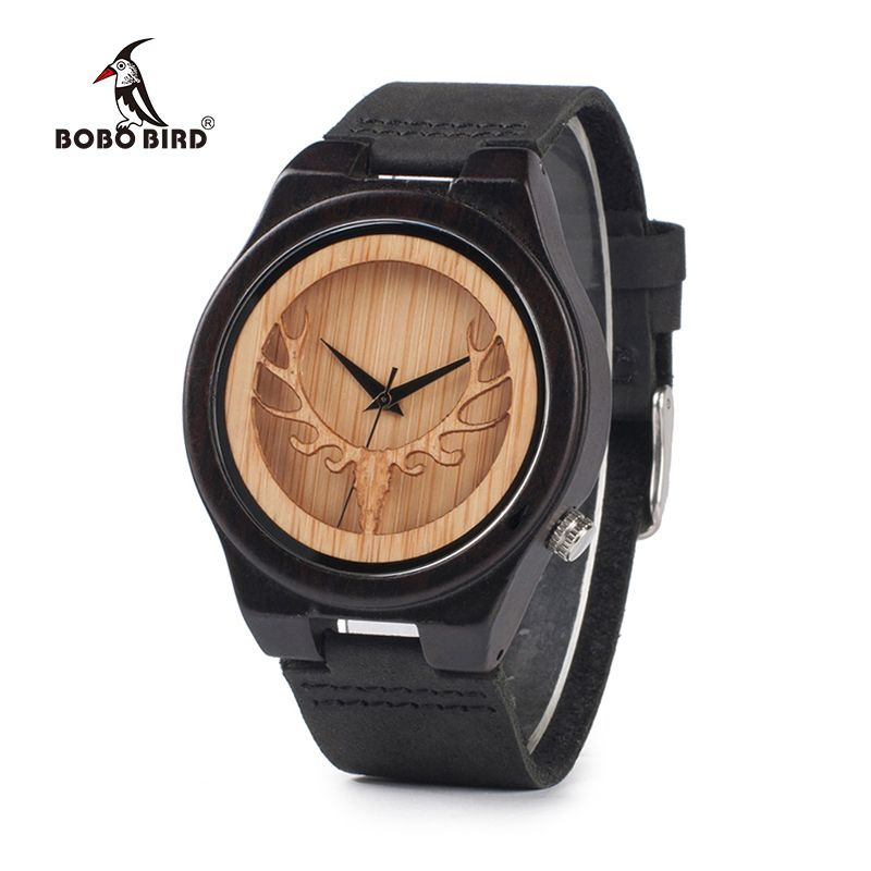 BOBO BIRD Hollow Skeleton Engraved Deer Head Bamboo Wood Watch Japan Movement 2035 Quartz Watch with Leather Strap for Mens