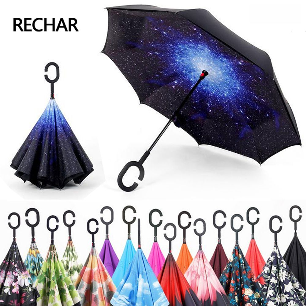 Hot Drop Shipping Windproof Reverse Folding Double Layer Inverted Chuva Umbrella Self Stand Rain Protection C-Hook Hands For Car