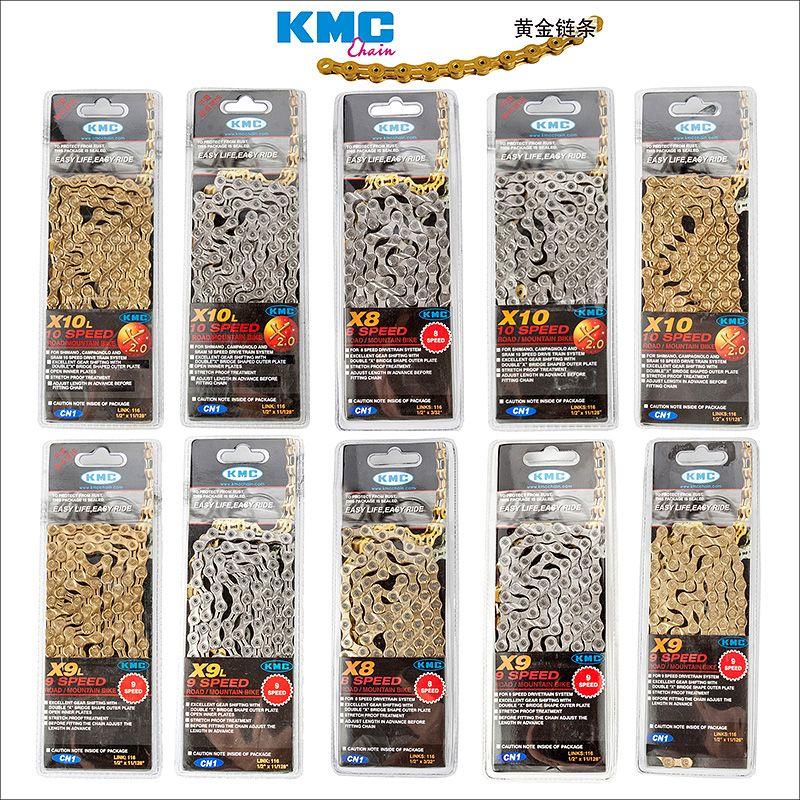 KMC X8 X9 X9sl X10 X10sl X11SL chaîne de vélo 9S 10S 11S or pour vtt/vélo de route pour Shimano/SRAM 8 9 10 11 vitesses 116L/vélo à chaîne