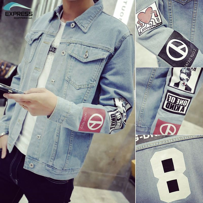 2018 Men's Denim Jacket high <font><b>quality</b></font> fashion Jeans Jackets Slim fit casual streetwear Vintage Mens jean clothing Plus Size M-5XL